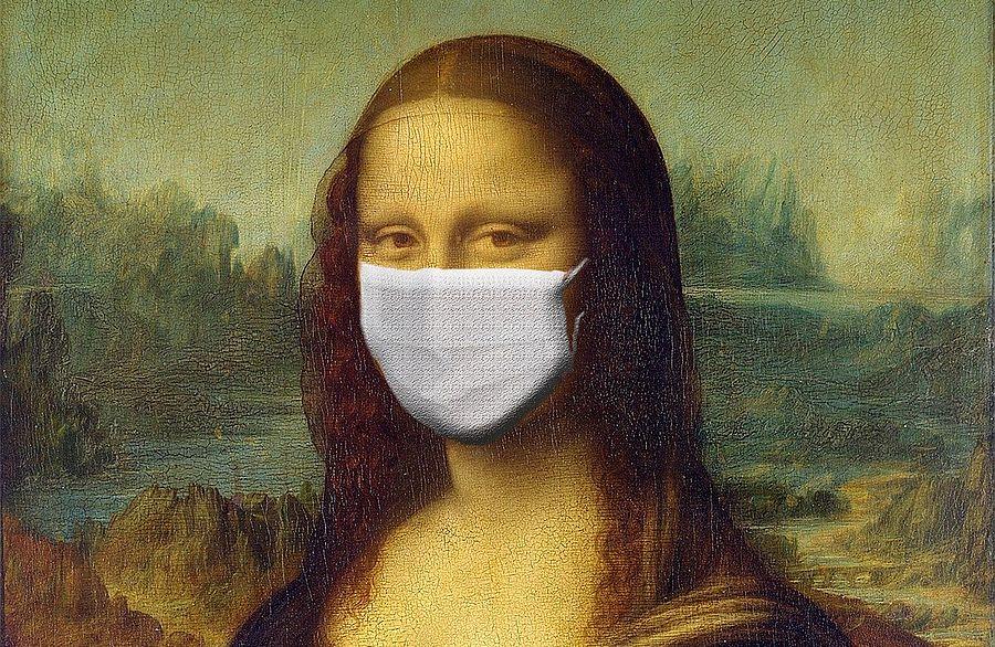Mona Lisa mit Mundschutz